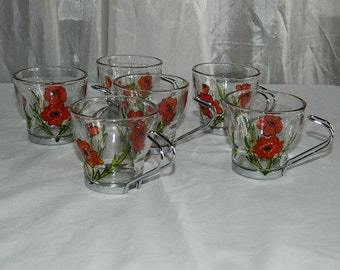 Six glass espresso coffee cups with a hand painted red poppy design