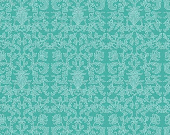 Riley Blake, Into The Garden by Amanda Herring, Garden Damask Teal, fabric by the yard