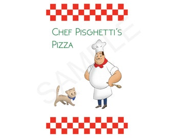 Curious George Chef Pisghetti Custom Food Sign