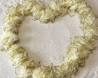 White with Gold trim Frilly Scarf