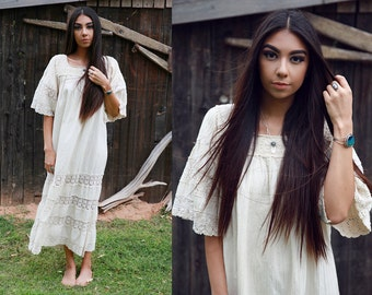 1970s Creme Maxi Dress with Belled Sleeves and Crochet Details
