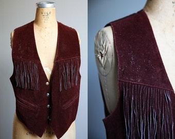 1970s Brown Leather Fringe Vest