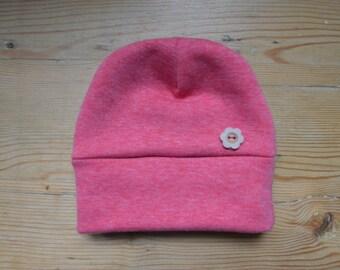 Pink Sweatstoff baby hat for newborns with button detail