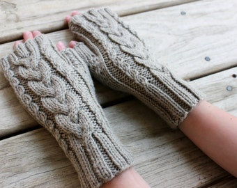 Cable Knit Fingerless Gloves for Kids and Tweens, Cable knit gloves, Fingerless mittens, Wool Gloves, Ready to Ship