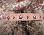 Leather Hatband,Natural Leather,Roughout Leather Hatband with Antique Silver Dome Spots and Adjustable Lace Tie.