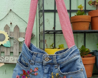 Flowers and Stripes Jean Purse