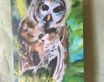 Water color, owl, blank card