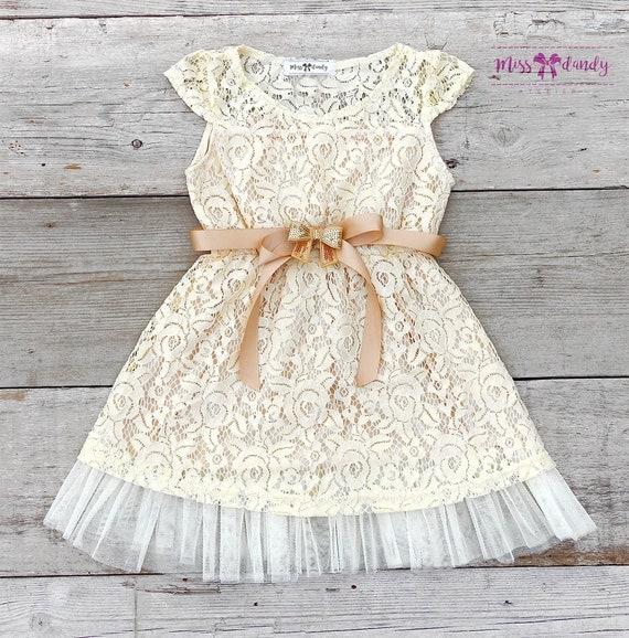Zoé Dress- Lace Flower Girl dress - Flower Girl Dresses - Champagne flower girl dress - Lace dress - Rustic Girls Dress - Junior Bridesmaid