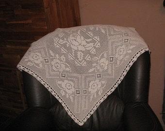 White square crochet tablecloth