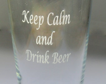 Keep calm and drink engraved glass with name, Personalised glass, Birthday gift, Engraved beer glass, Engraved wine glass