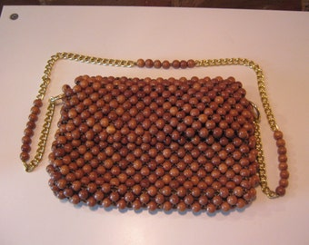 Vintage Wooden bead purse Made in Japan