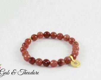 Women bracelet, peach bracelet, beaded bracelet