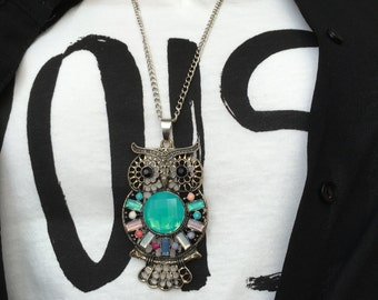 Owl Necklace, Calaite Owl Pendant, Calaite stone, Charm Necklace,Owl Pendant,Animal Necklace, Boho Necklace, Owl Jewelry,Bohemian Necklace,