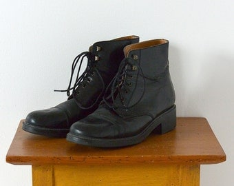 Vintage Black Leather Combat Style Women's Ankle Boots