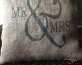 Mr & Mts Custom Burlap Throw Pillow