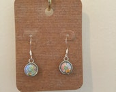 Crystal drop earrings opal october birthstone