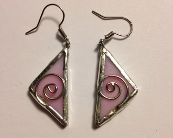 Pink stained glass earrings