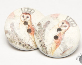 Royal owl wood button earring - hibou royal boucles d'oreilles en bois