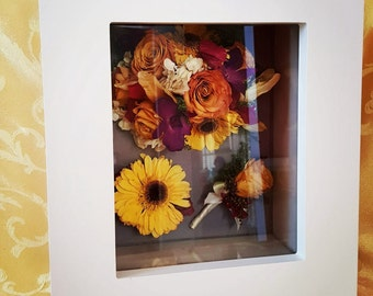 Preserved wedding bouquet shadowbox