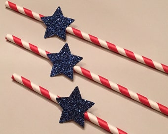 12 Red White and Blue Straws 4th of July Straws Patriotic Straws Baby Shower Straws Shower Straws Birthday Straws BBQ Straws