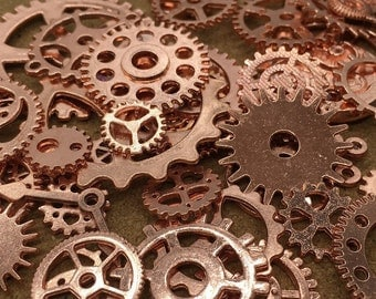 BULK 100 Mixed Rose Gold Steampunk Gear Charms Clockwork Cog Wheel Gearwheel Mechanical Watch Gear Clock Parts Decoration