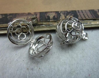 2 Round Flower Rose Ball Bead Cage Silver Tone with Hinge Makes Stunning Pendants (YT8045)