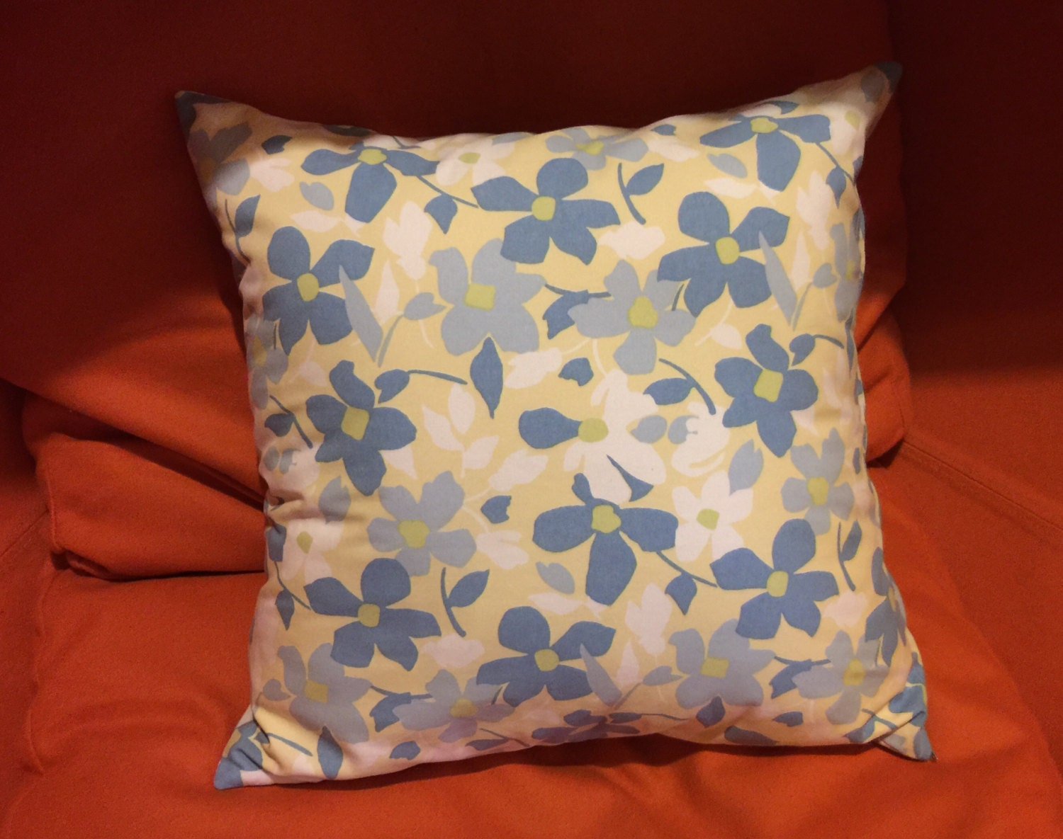 Pale Yellow Throw Pillow Cover : Soft blue & yellow 18 x 18 inch pillow cover. Double sided, pale blue/yellow vintage flower ...