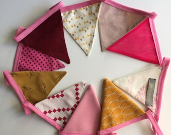 pennants/flags in tissue Garland yellow and Burgundy rose
