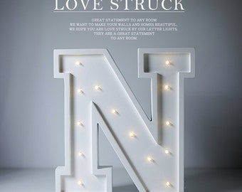 Letter N Lights Wedding Sign - Framed Last Name with Alphabet, Personalized Wedding Gift or Graduation, In stock