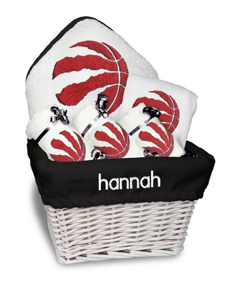Baby Gift Baskets Montreal : Personalized toronto raptors baby gift basket bib burp