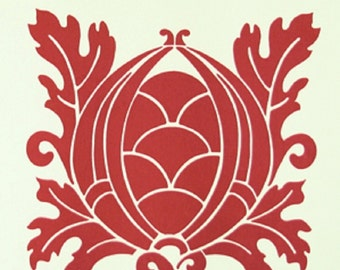 """Vicki Payne For """"Your Home Collection"""" Cotton Sateen """"Crest"""" in Cherry Decorator Width 54/55"""""""