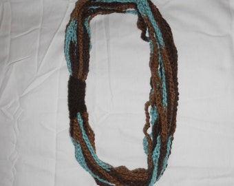 Layered Chain Scarf in Blue & Brown w/ Brown Accent