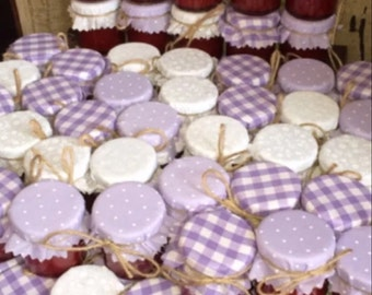 50 X Wedding favour Fabric mini jam jar lid top covers