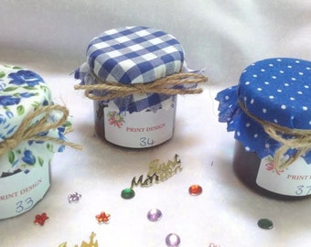 50x Wedding favour Fabric mini jam jar lid top covers