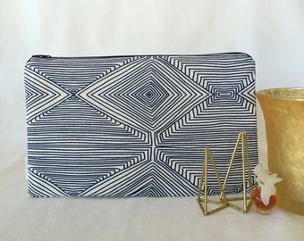 Navy Blue Modern Zipper Pouch, Make-up Bag, Cosmetics Pouch, Pencil Pouch for Organizing your Purse, Backpack, Diaper Bag, Nate Berkus