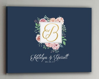 Wedding Guest Book - 30-150 Guests - Gold Wedding Guestbook Rustic Alternative Guestbook Vintage Pink Wedding Guestbook CANVAS - Navy