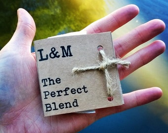 """Personalsied """"Perfect Blend Teabag"""" wedding favours x 20"""