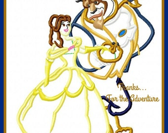 Princess Belle and the Beast from Beauty and the Beast Digital Embroidery Machine Applique Design File 5x7 6x10 8x12