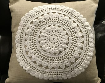 Vintage Doily and Linen Pillow Cover