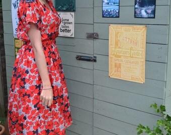 VINTAGE Red Poppy Dress