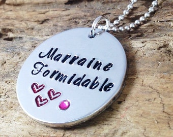Hand Stamped Marraine Formidable French Godmother Message Pendant Necklace