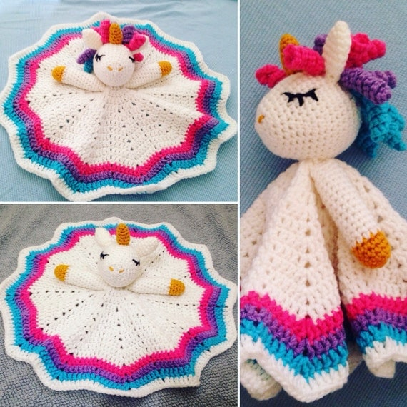 ... similar to Crochet Rainbow Unicorn Lovey/Security Blanket on Etsy