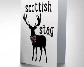 Scottish Stag Card - Tartan Silhouette Scotland Blank Greetings Card CP150
