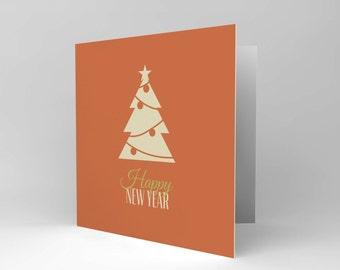 New Year Card - Happy New Year Tree Christmas Orange Blank Card CS445