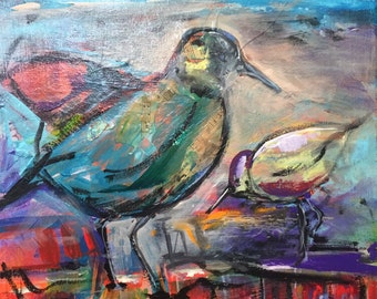 """Custom Wedding Painting -- Painted Birds Acrylic and Collage 12"""" x 12"""" Painting Entitled """"Pipers"""""""