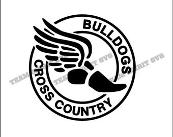 Bulldogs Cross Country Download File - SVG, DXF, EPS, Silhouette Studio, Vinyl Cutting Files, Digital Cut Files -Use with Cricut, Silhouette
