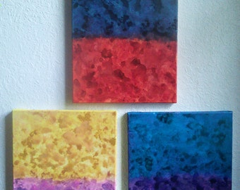 Electric Abstract Painting Set of 3 11x14 Acrylic on Canvas