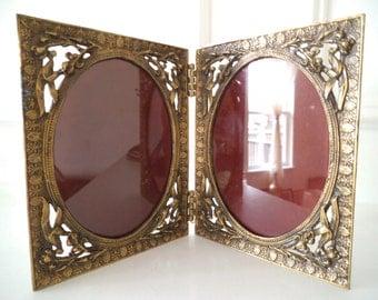 Antique Petite Bronze Frame / Art Nouveau / Double Oval Frame