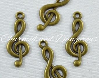 10 Antique Bronze Treble Clef charms (CM30)