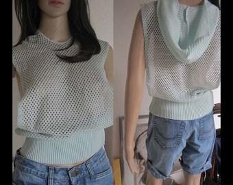 Vintage 80s crop crochet power top cropped top S crochet